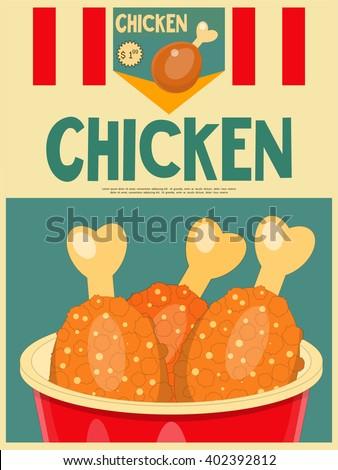 Fried Chicken Poster Menu in Retro Style. Vector Illustration. - stock vector