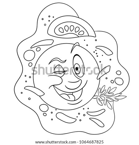 Fried Egg Coloring Page Happy Breakfast Food Concept Funny Emoticon Smiley Idea
