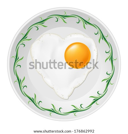 Fried eggs in heart shape in white plate with green floral pattern - stock vector