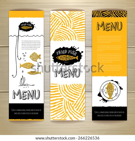 Fried fish restaurant menu concept design. Corporate identity. Set of banners - stock vector