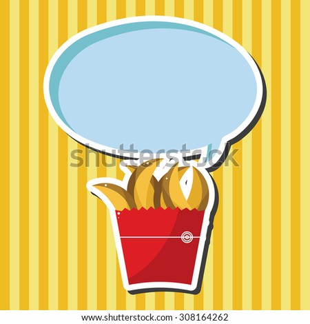 Fried foods theme french fries elements - stock vector