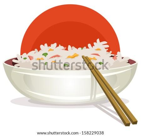 Fried Rice Asian Chopsticks Illustration Cartoon Stock ...