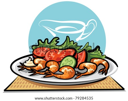 Fried shrimps and vegetables - stock vector