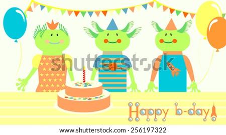 Friendly aliens birthday. greeting card. Vector. - stock vector