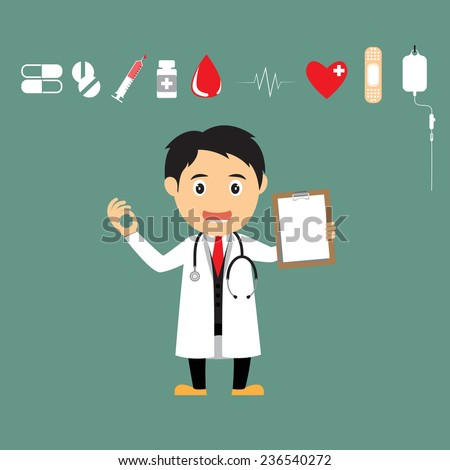 Friendly cartoon doctor Character with medical icons for use in presentations and advertising vector illustration. - stock vector
