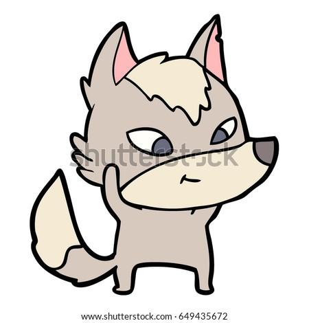 friendly cartoon wolf stock photo (photo, vector, illustration