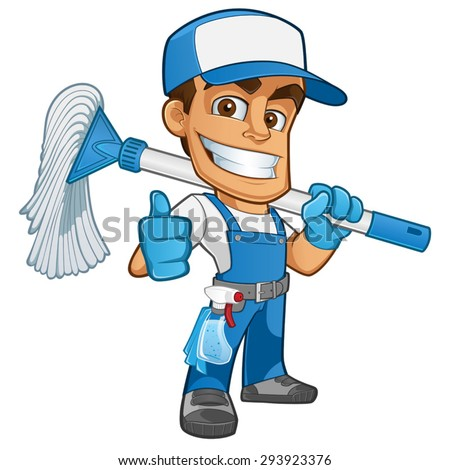 Friendly cleaner dressed in work clothes, he has a mop - stock vector