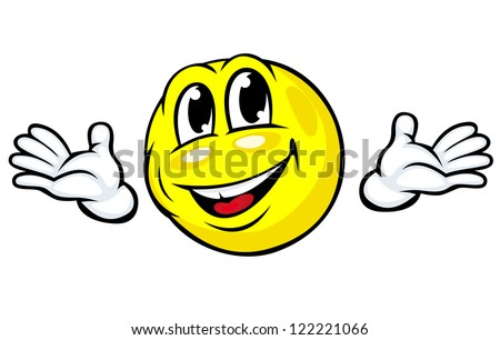 Friendly emotion face icon with hands in cartoon style. Jpeg version also available in gallery - stock vector