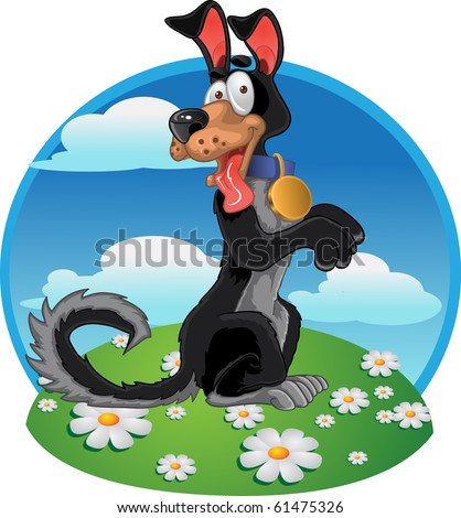 Friendly fun black dog on bright color background