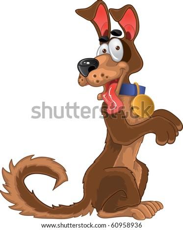 Friendly fun dog - stock vector