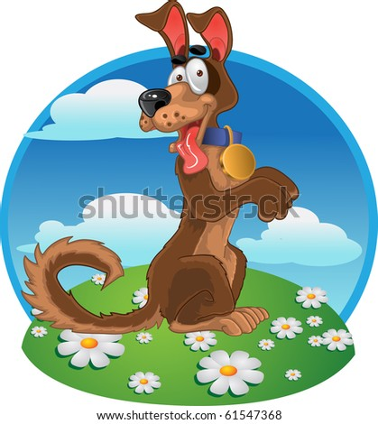 Friendly fun dog on bright  color background