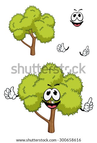 Friendly green tree cartoon character with fresh spring branches, for nature or ecology design - stock vector