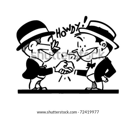 Friendly Handshake - Retro Ad Art Illustration - stock vector
