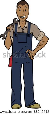 Friendly Handy Man Standing With A Wrench - stock vector
