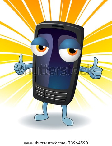 Friendly mobile phone character. Vector illustration. - stock vector