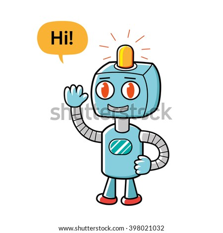 Friendly robot character. - stock vector