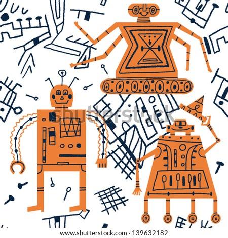 friendly robots vector seamless pattern - stock vector