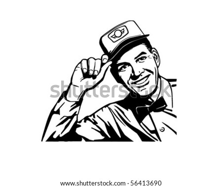 Friendly Service Man - Retro Clip Art - stock vector