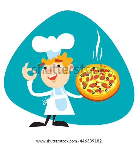 Friendly smiling blond Chef with big Chef's hat blond whiskers showing big round Pizza. Vector based cartoon style.