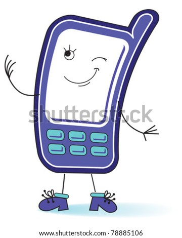 Friendly smiling mobile phone - stock vector