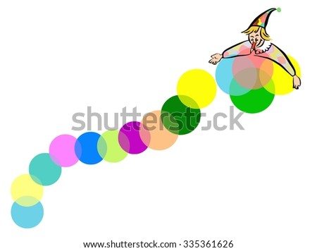 Friendly smiling red circus clown holding colorful balloons and waving in greeting - stock vector