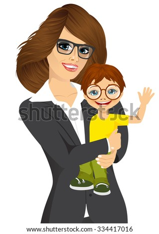friendly young businesswoman with glasses holding and hugging her cute little baby son smiling - stock vector