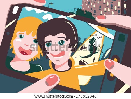 Friends are taking photo themselves on the smartphone.  - stock vector