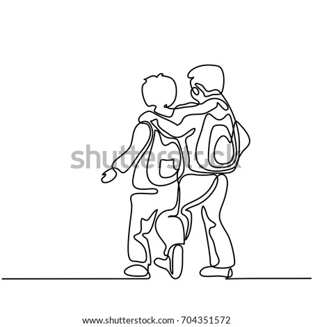 Friends boys going back to school with bags. Continuous line drawing. Vector illustration on white background