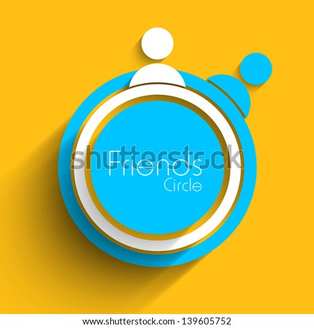 Friends circle on yellow background. - stock vector