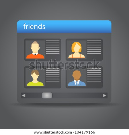 Friends collected on friend board - stock vector