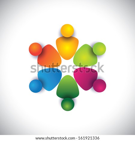 friends & companions together in circle showing friendship. The vector graphic can also represent employees unity, workers union, executives meeting, friendship, team work & team spirit - stock vector
