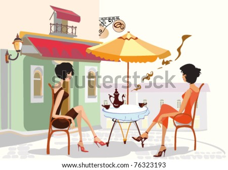 Friends in the street cafe - stock vector