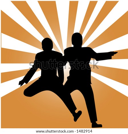 friends jumping for joy - stock vector