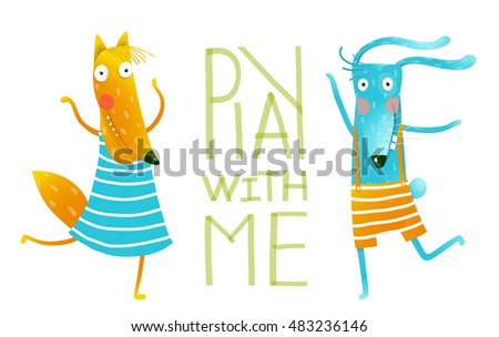 Friends orange fox and rabbit playing cartoon. Smiling orange fox in blue dress and bunny dancing on white background with text - Play with me. Isolated cartoon characters. Vector illustration