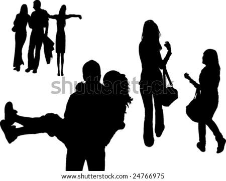 friends silhouette - vector - stock vector