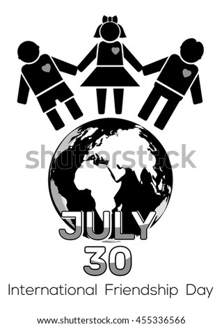 Friendship Day black and white logo icon. 30 July - International Friendship Day. Vector illustration - stock vector