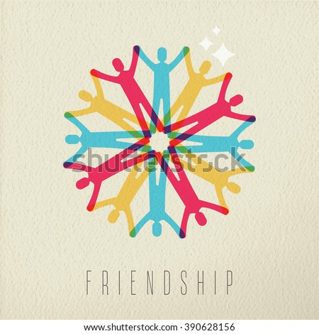 Friendship diversity group concept, illustration of diverse people team holding hands in colorful style over texture background. EPS10 vector. - stock vector