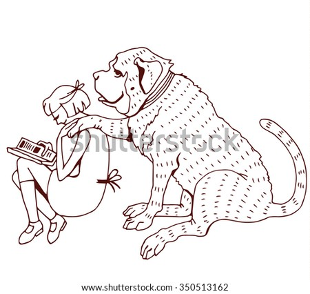 Friendship Girl and Dog - stock vector