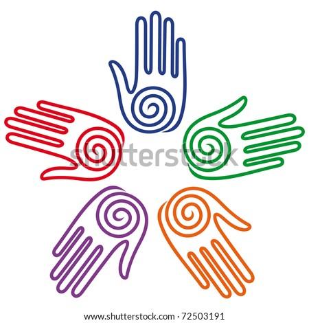 friendship hands - stock vector