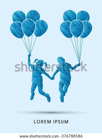 Friendship, Little Boy and girl jumping with balloons  designed using blue grunge brush graphic vector.