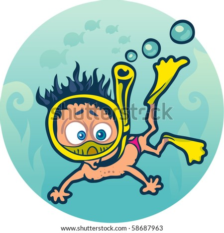 frightened diver under water - stock vector
