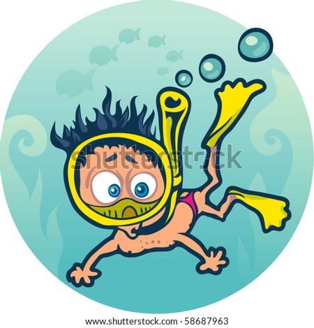 Frightened Diver Under Water 58687963