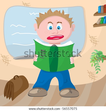 Frightened student with a notebook in hand near board. Vector. - stock vector