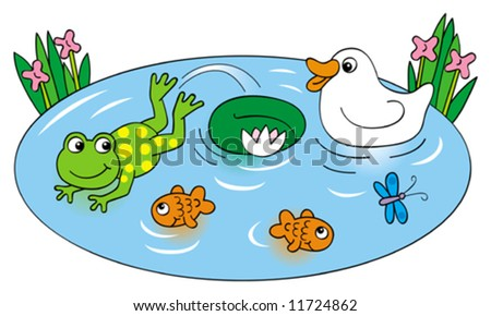 Frog and Duck on pond - stock vector