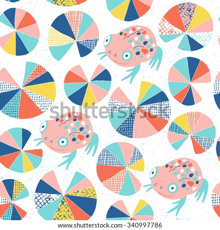 Frog and water lily seamless background. Colorful surface decoration.Vector illustration. Cloth design, wallpaper, wrapping. - stock vector