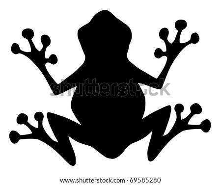 Frog Black Silhouette - stock vector