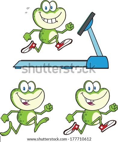 Frog Cartoon Mascot Character 14. Vector Collection Set - stock vector