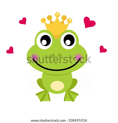 Frog cartoon prince isolated on white - stock vector