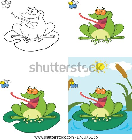 Frog Catching A Fly Cartoon Character. Set Vector Collection - stock vector