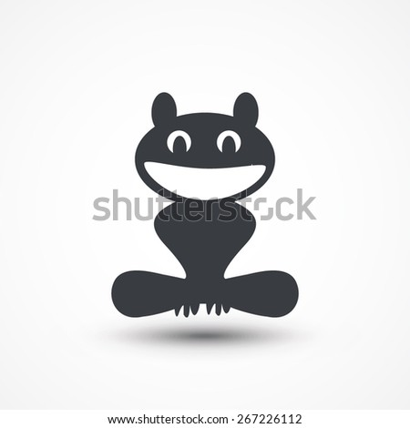 Frog in caricature cartoon style isolated. Smiling. - stock vector